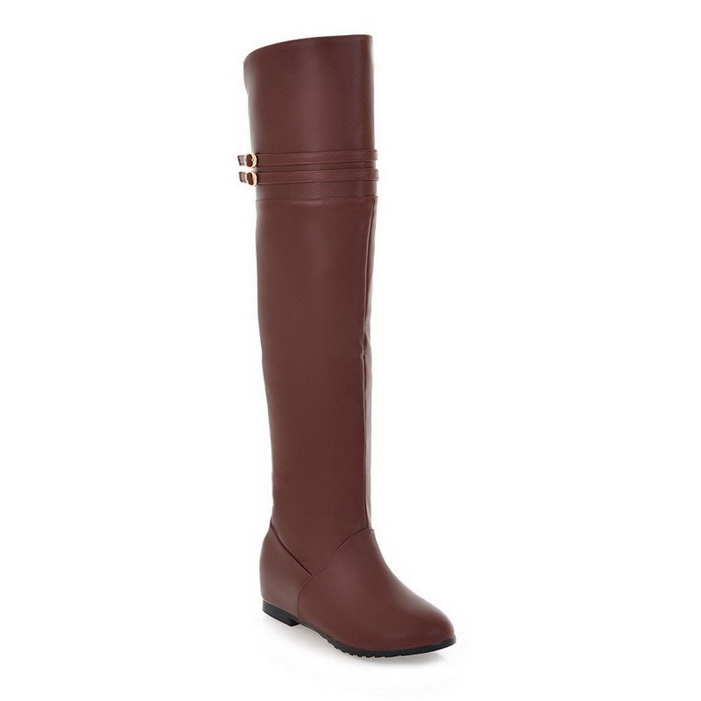 VogueZone028 Womens Closed Round Toe Low Heels Soft Material Fine Fleece Solid Boots with Heighten Inside, Brown, 9.5 B(M) US