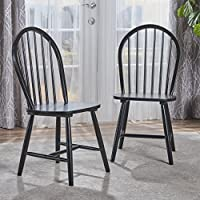Crosby Farmhouse Cottage High Back Spindled Black Finished Rubberwood Dining Chairs (Set of 2)