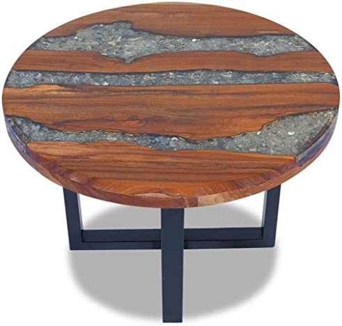 Festnight Round Coffee Table Teak Wood Resin End Side Table Pure Handmade for Home Office Living Room Furniture Decor