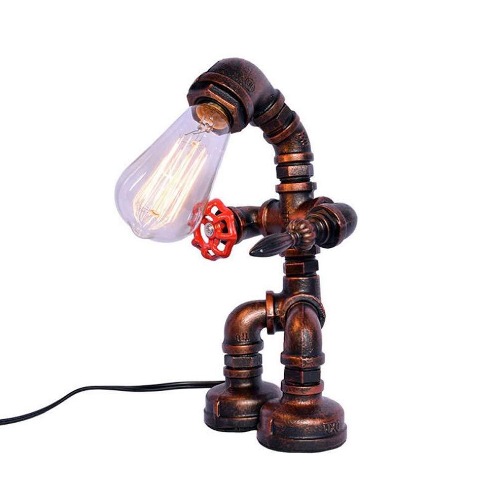 OOFAY LIGHT Retro Tubo De Agua Lámpara Mesa De Mesa Lámpara De Cobre Rústico Mesilla De Noche Robot Lámpara De Pie e4d25f