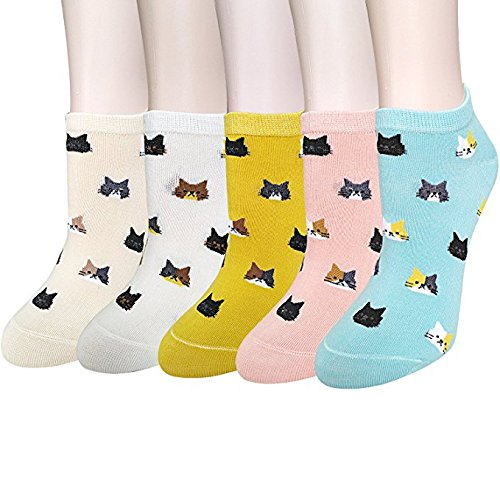 5-Pairs-Womens-Cute-Animal-Socks-Fun-and-Cool-100-Cotton-Art-Socks-for-Women