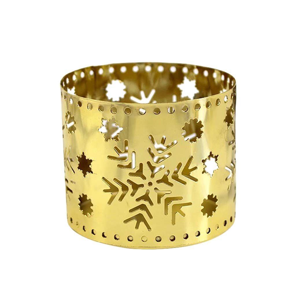 AmazingDays Hollow Iron Light Candle Holder Candlestick Creative Lantern Christmas Decor A