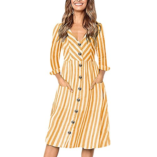 ManxiVoo Women Cuffed Sleeve Button up Striped Casual Dress with Pocket V-Neck Tunic Shirt Dresses (L, Yellow) ()