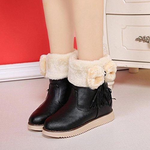 Botas Mujer,Ouneed ® Moda zapatos Flats Bowknot borla mantienen cargadores de la nieve caliente Negro