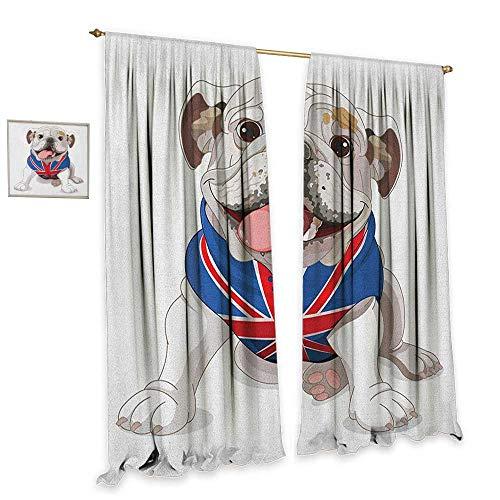 homefeel English Bulldog Window Curtain Fabric Happy Dog Wearing a Union Jack Vest Cartoon Style Animal Design Drapes for Living Room W84 x L108 Cream Navy Blue Red