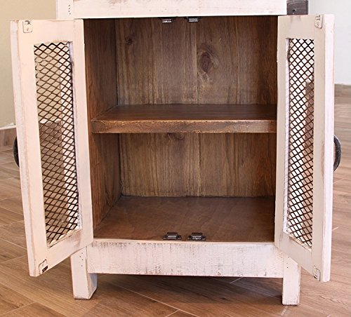 Anton Farmhouse Solid Wood Distressed White Sliding Barn Door Kitchen Island With Storage And Rolling Casters by BurlesonHomeFurnishings (Image #4)