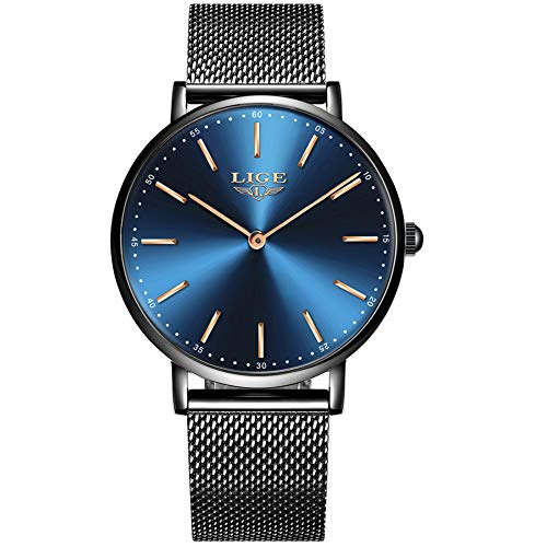 - LIGE Slim Unisex Women Men Watches Waterproof Fashion Simple Analog Quartz Watch Man Black Blue Stainless Steel Mesh Wristwatch