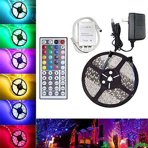 LED Strip Lights, Flexible Strip Lights, eBoTrade 16.2ft 300leds 4.9m Waterproof RGB Color Changing SMD 3528 Adhesive Light Strip with 44key Remote + Power Supply