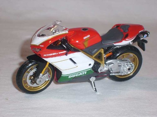 Ducati 1098S in Red, White and Green (1:18 scale) Diecast Model Motorbike -