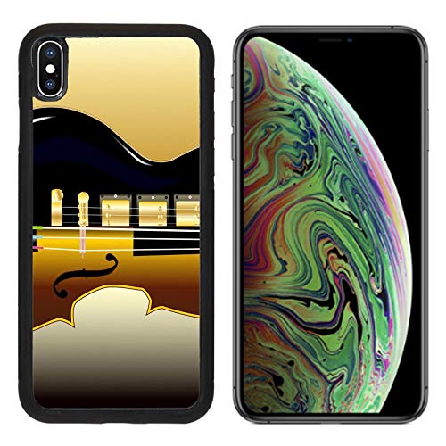 Luxlady Apple iPhone Xs MAX Case Aluminum Backplate Bumper Snap Cases A Modern Rock Guitar and Traditional Violin Image ID (Best Traditional Violin With Cases)