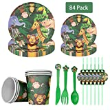 84 Pack Jungle Animal Disposable Tableware, DreamJ Jungle Animals Birthday Party Supplies with Animal Plates Cups Paper Bags Serves 12 for Animal Baby Shower Birthday Party Decorations