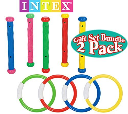 Intex Underwater Swimming/Diving Pool Toy (4 Rings) (5 Sticks) Gift Set Bundle-2 Pack