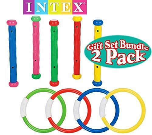 Intex Underwater Swimming/Diving Pool Toy (4 Rings) (5 Sticks) Gift Set Bundle-2 - Flexible Dive Sticks