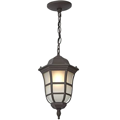 Traditional Gooseneck Hanging Outdoor Chandelier Light | Classical Matte  Bronze Finish With Frosted Glass | Exterior