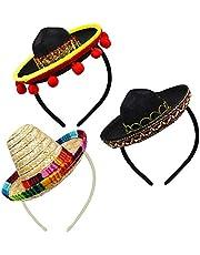3 stuks Cinco De Mayo Fiesta stof en rietje sombrero hoofdbanden party kostuum voor fun Fiesta hoed party supplies, Luau evenement Photo Props, Mexicaanse themadecoraties voor carnaval, festivals en feesten