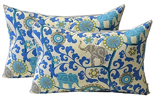 Set of 2 Indoor Outdoor Jumbo Over-sized Rectangle Lumbar Chaise Lounge Decorative Throw Toss Pillows, Sapphire Blue Turquoise Green Gray Bohemian Elephant Menagerie Fabric - Zipper Covers + Inserts (Lounge Chaise Bohemian)