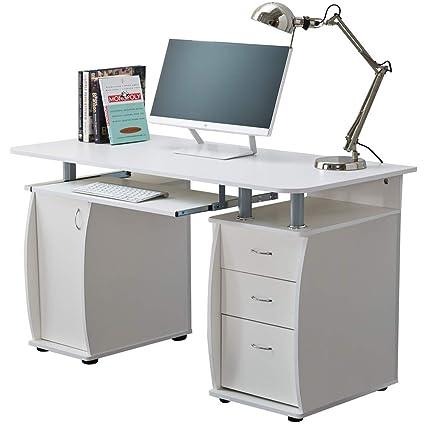 Mesa para ordenador, de RayGar, con armario y cajonera triple ...
