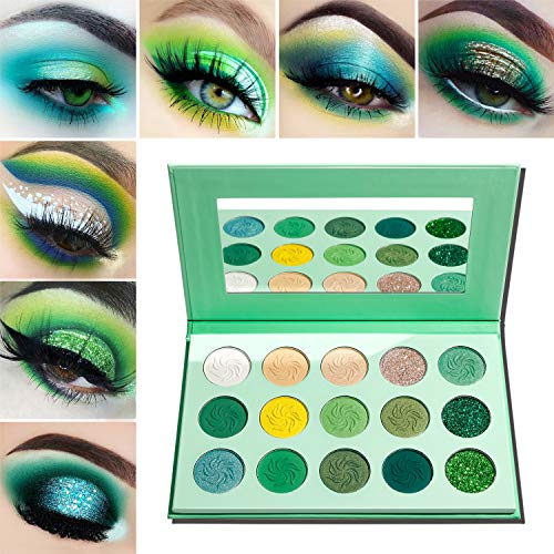 Green Eyeshadow Palette Matte and Glitter,Afflano Highly Pigmented Pro Makeup Palettes Eye shadow Yellow Nude 15 Colors,Creme Shimmer Metallic Sparkle Travel Vegan Cruelty Free Eyeshadow Pallet (Contact Eyes Color Green)