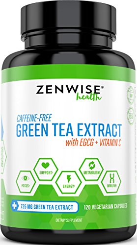 Green Tea Extract Supplement with EGCG & Vitamin C - Antioxidants & Polyphenols for Immune System - For Weight Support & Energy - Decaffeinated Pills for Brain & Heart Health - 120 Count Green Label Organic Support