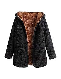 ZAFUL Women Wool Coat Open Front Hooded Cardigan Jacket