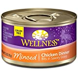 Wellness Natural Food for Pets Natural Grain Free Wet Canned Cat Food, Minced Chicken Recipe, 3-Ounce Can (Pack of 24)