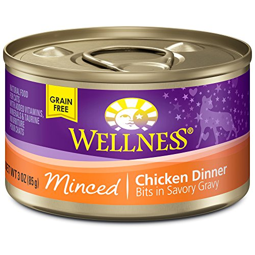Wellness Natural Canned Grain Free Wet Cat Food, Minced Chicken, 3-Ounce Can (Pack of 24) (Canned Wellness Cat Food compare prices)