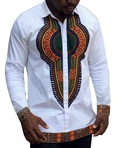 Dellytop Men's Long Sleeve African Printed Button Down Shirt (All White Party Outfits Men)