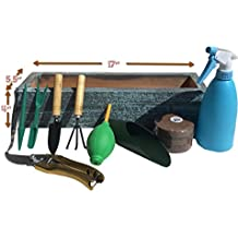 Large Succulent Planter Box Set, with 7 Mini Succulent Transplanting Tools, Spray Bottle, FREE Garden Pruning Shears and Soil Included (Coastal Turquoise)