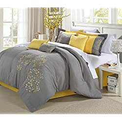 Chic Home 8-Piece Embroidery Comforter Set, King, Floral Yellow