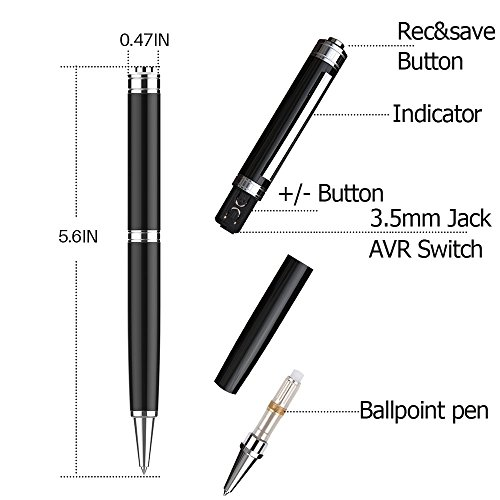 Digital Voice Recorder Pen by Aiworth,8GB/16GB Voice Activated Recorder Ballpoint Pen, Dictaphone,MP3 Player 3 in 1,One Button Recording and Save Perfect For Lectures,Meetings,Interview,Speech (16GB)