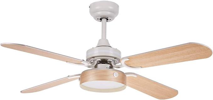 FABRILAMP Ventilador Bornan Blanco 2xe27 4 Aspas Blancahaya 107d Control Remoto: Amazon.es: Hogar