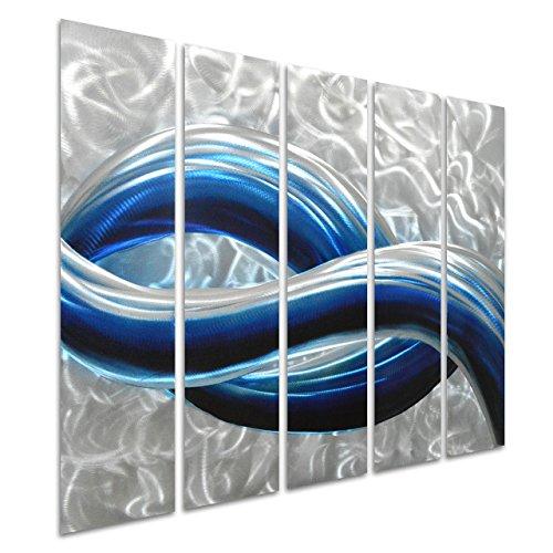 Pure Art Blue Skyline in Silver - Abstract Metal Wall Art - (Nuevo Living Cross)