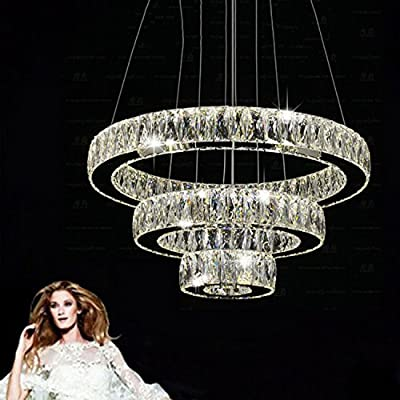 LightInTheBox LED Crystal Pendant Light Modern Chandeliers Lighting Three Rings D204060 K9 Large Crystal Hotel Ceiling Lights Fixtures