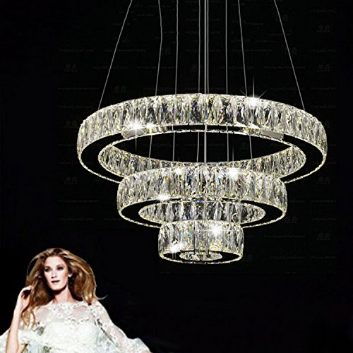 LightInTheBox LED Crystal Pendant Light Modern Chandeliers Lighting Three Rings D204060 K9 Large Crystal Hotel Ceiling Lights Fixtures (Warm White)