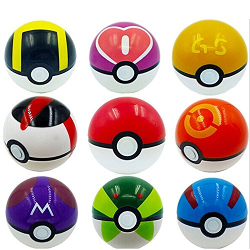 9 Pieces Plastic Super Anime Pokeball Figures Balls for Pokemon With 33 Pokemon Figures In a Set Photo - Pokemon Gaming