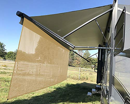 Tentproinc-RV-Awning-Sun-Shade-Screen-8-X-173-Beige-Mesh-Sunshade-UV-Blocker-Complete-Kits-Motorhome-Camping-Trailer-Canopy-Shelter-3-Years-Limited-Warranty