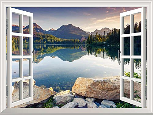 Wall26 Removable Wall Sticker / Wall Mural – Peaceful Lake in Autumn | Creative Window View Wall Decor – 24″x32″