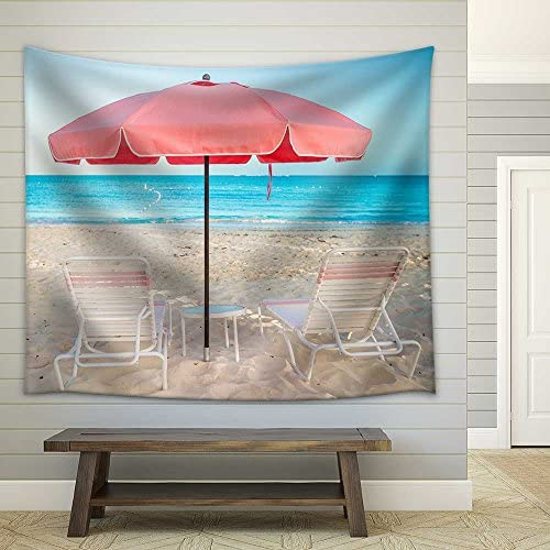 Two Chairs and Umbrellas on Stunning Tropical Beach Fabric Wall