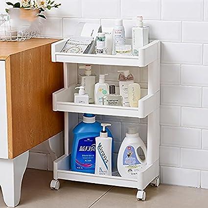 ShopyBukcet 3 Tier Plastic Bathroom Kitchen Storage Rack with Trolley Wheel (White 4 Tier & ShopyBukcet 3 Tier Plastic Bathroom Kitchen Storage Rack with ...