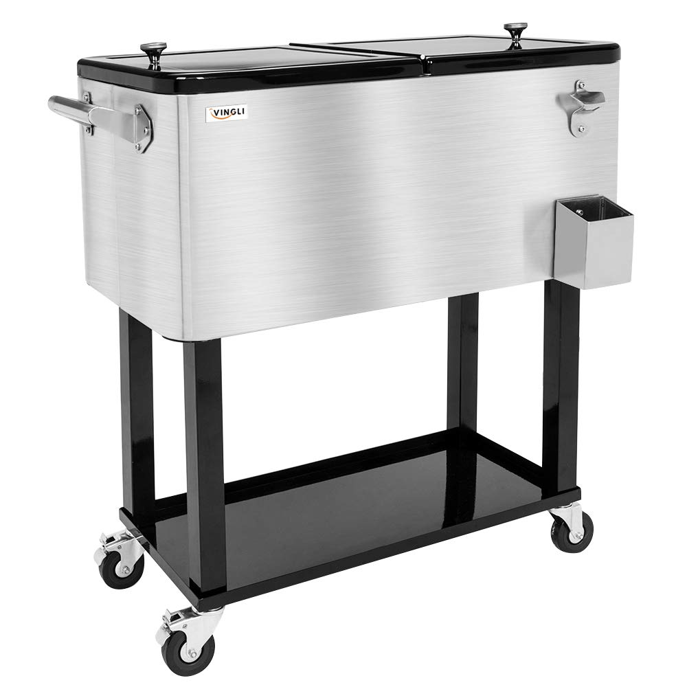 VINGLI 80 Quart Rolling Ice Chest on Wheels, Portable Patio Party Bar Drink Cooler Cart, with Shelf, Beverage Pool with Bottle Opener,Water Pipe and Cover (Stainless Steel) by VINGLI