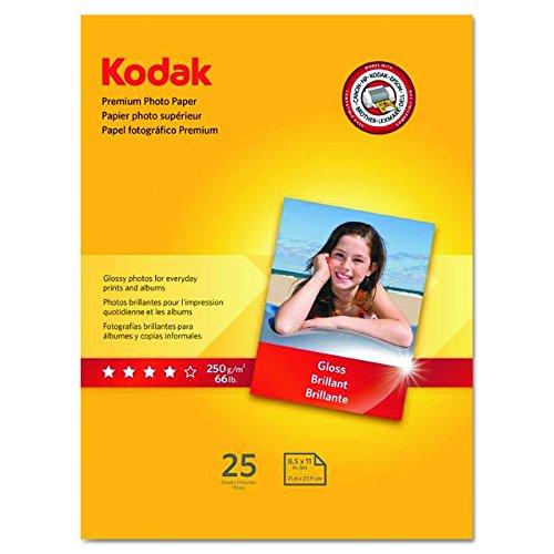"Kodak Premium Photo Paper for inkjet printers, Gloss Finish, 8.5 mil thickness, 25 Sheets, 8.5"" x 11"" (8689283)"