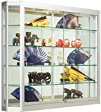 glass aluminum display case - Silver Aluminum Glass Display Cabinet, 47-1/4 x 39-1/2 x 8-Inch, That Is Illuminated, Wall-Mounted, Has Locking Sliding Glass Doors, And Ships Fully Assembled