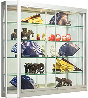 Silver Aluminum Glass Display Cabinet 47 14 X 39 12 X 8 Inch