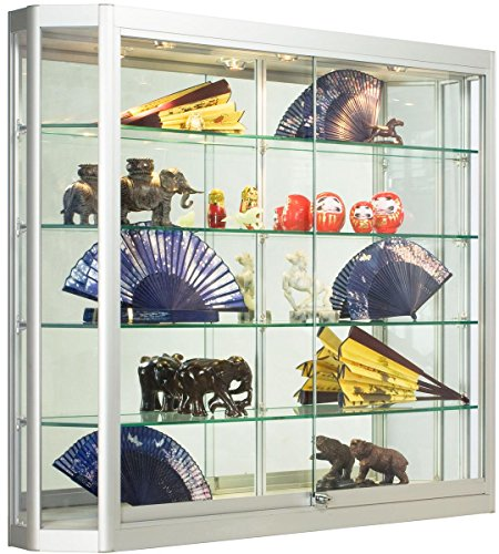 Wall Mounted Sliding Glass Door (Silver Aluminum Glass Display Cabinet, 47-1/4 x 39-1/2 x 8-Inch, That Is Illuminated, Wall-Mounted, Has Locking Sliding Glass Doors, And Ships Fully Assembled)