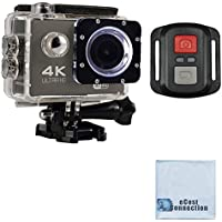 eCostConnection 4K Ultra HD 16MP WiFi Waterproof Sports Action Camera 2.0 (Black) with Anti-Shake DSP and Wrist RF Remote + eCostConnection Microfiber Cloth