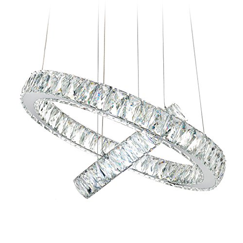 MEEROSEE MD2226-53MN Modern Crystal Ceiling Fixture LED Contemporary Adjustable Stainless Steel 2 Rings Lights Chandelier, Big Cool White - Crystal Pendant 2 Light
