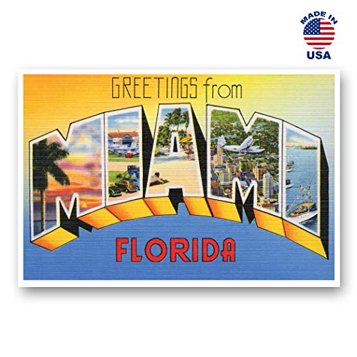 (GREETINGS FROM MIAMI, FL vintage reprint postcard set of 20 identical postcards. Large Letter Miami, Florida city name post card pack (ca. 1930's-1940's). Made in)