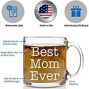 Best Mom Ever Glass Coffee Gift Mug 13 oz