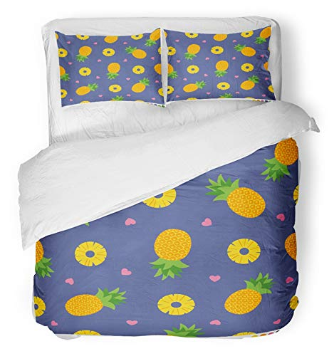 Emvency 3 Piece Duvet Cover Set Breathable Brushed Microfiber Fabric Colorful Aloha Pineapples Pattern with Hearts Citrus Cute Fruit Fun Girl Hawaii Kids Bedding with 2 Pillow Covers Full/Queen Size by Emvency