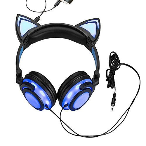 Maxrock Cat Ear Headphones Earcups Foldable Design, Over-ear Cute Headset for Children, Adults, Compatible for Cellphone, Laptop, Tablet… (Blue)